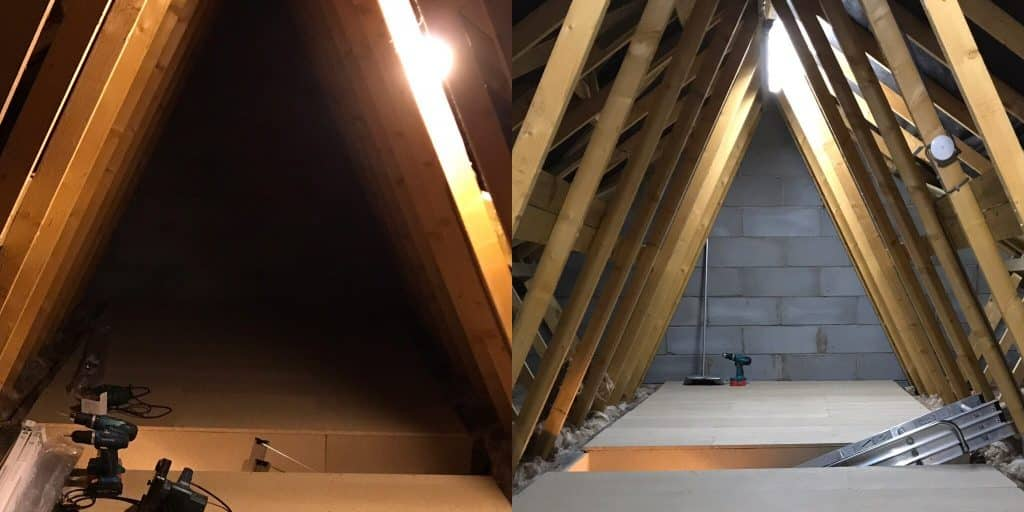 Loft lighting before and after upgrade to LED.