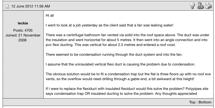 Screenshot of IET forum - extractor fan leaking water due to condensation from uninsulated flexible ducting in loft
