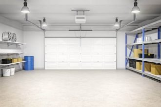 Interior of an empty modern garage in a house.